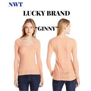 """🆕Lucky Brand Peach """"Ginny"""" Top, Size Large"""